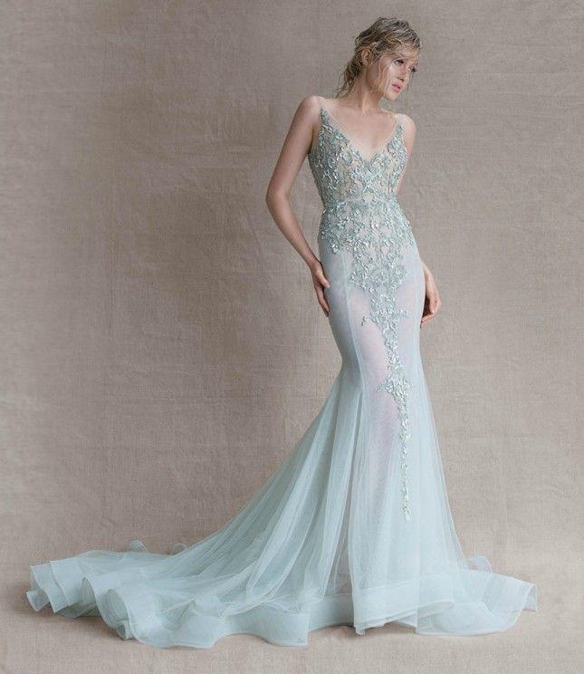 Love this blue mermaid gown.