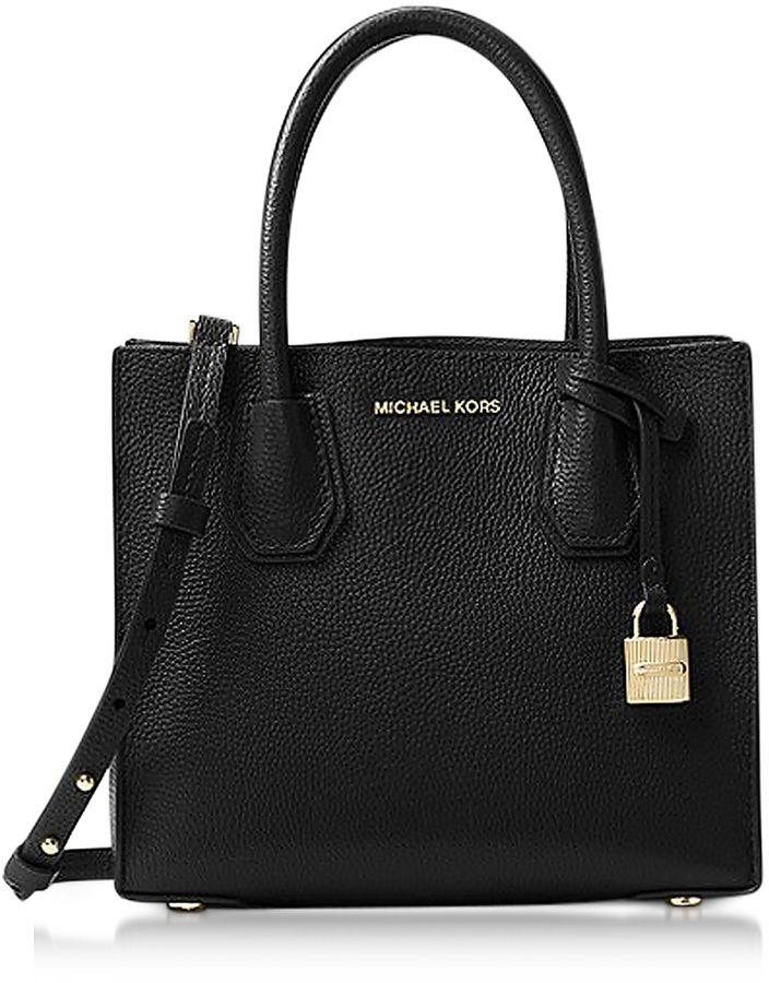 Michael Kors Mercer Medium Black Pebble Leather Crossbody Bag