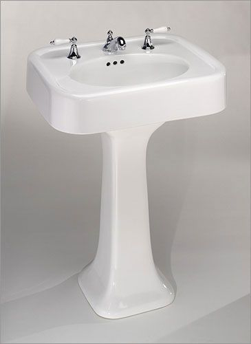 HALL: St. Thomas Creations Liberty Pedestal Lavatory Sink, 25.5 inch, Looks like sink husband and growing up. Love big round sides of sink and sleek pedastal. $445 from Vintage Tub & Bath