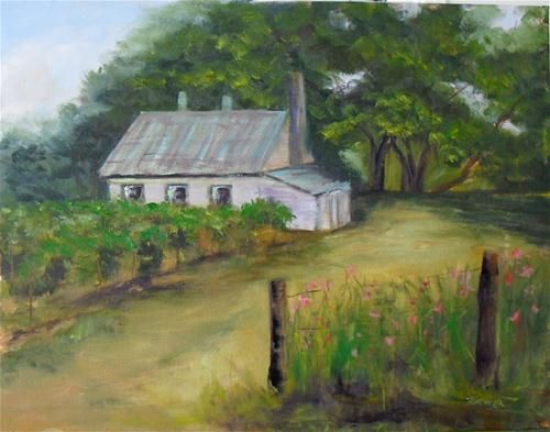 """Cottage by the Vineyard ~14x18~ oil on canvas"" -$400.00 Original Fine Art for Sale - © Vincenza Harrity: Oil On Canvas"
