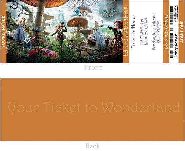 Alice in Wonderland Ticket Style Party Invitation
