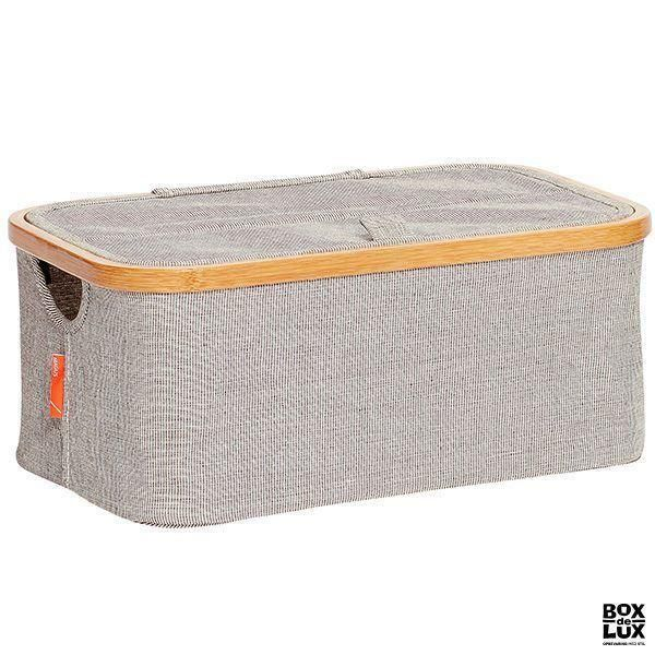 Hübsch opbevaringskasse i stof og bambus m. låg - SMALL
