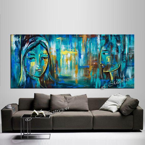 Coppia di dipinti in vendita  pittura Teal da Largeartwork