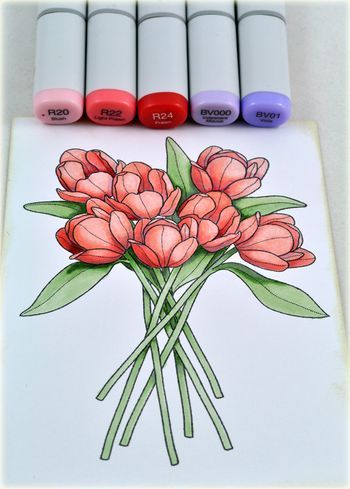 Debbie says: In the third stepped-out picture, I have basically finished the blossoms, though I went back and deepened a few colors after I took this photograph. (I was using Copic Blender Card; sometimes you notice that ink is lighter after the cardstock has time to dry thoroughly.
