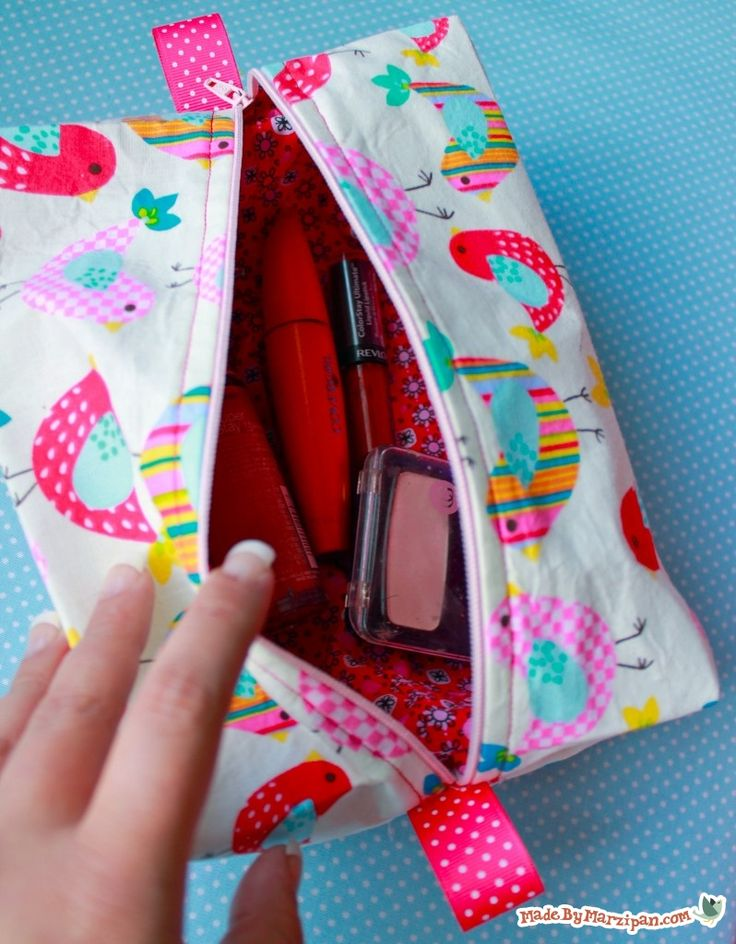 This cute little cosmetic bag has room for all your makeup. It's fully lined, and has ribbon tabs to make zipping up easier.  You'll be surprised at how easy it is to make!