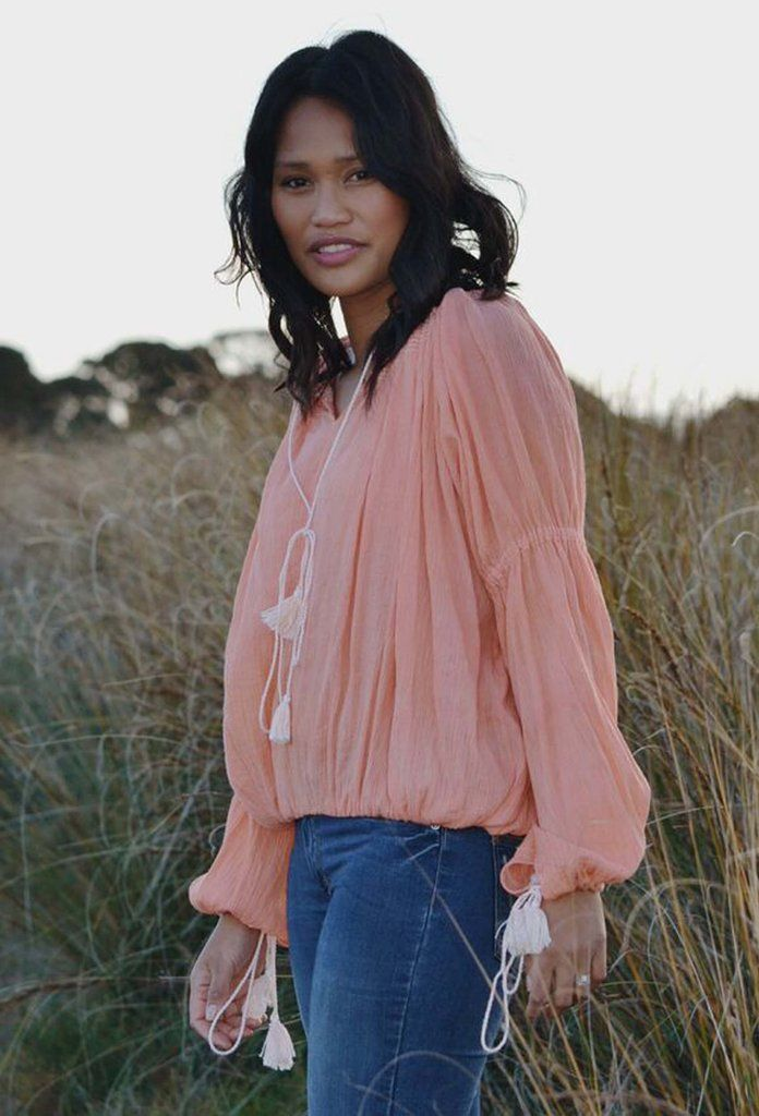 POÈTE COTTON GAUZE WASHED PEACH BLOUSE