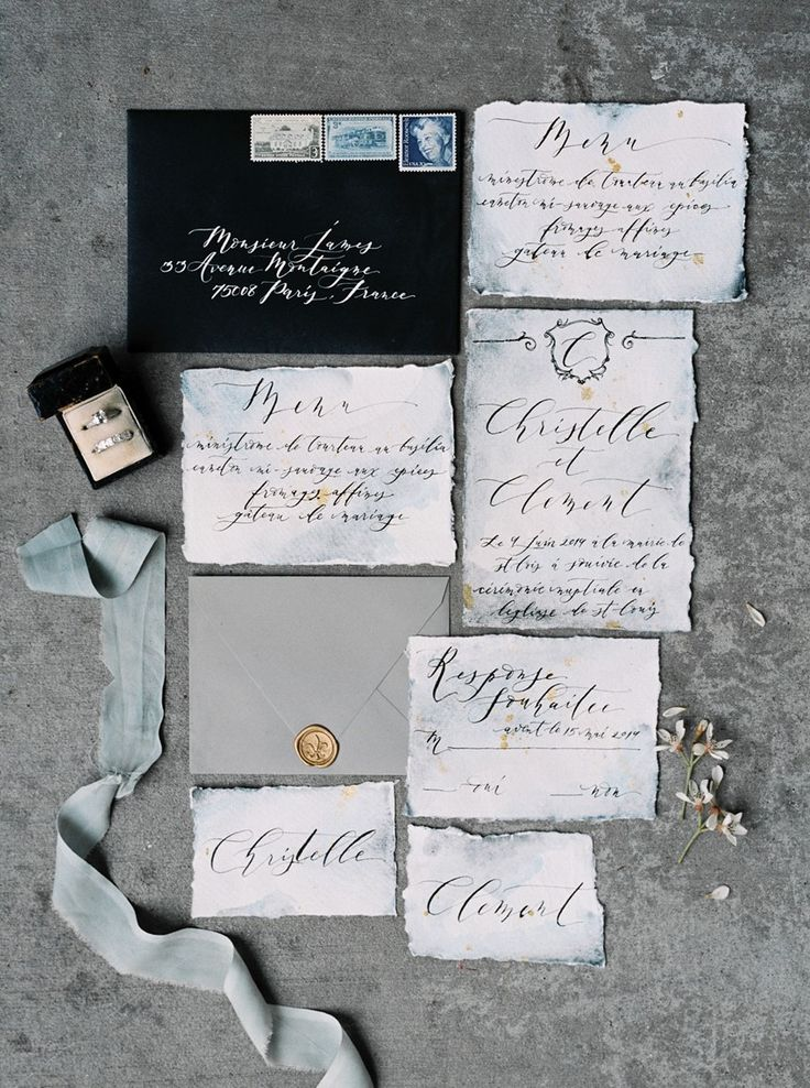 Calligraphy Wedding Stationery for a Romantic Paris Elopement // Photography…