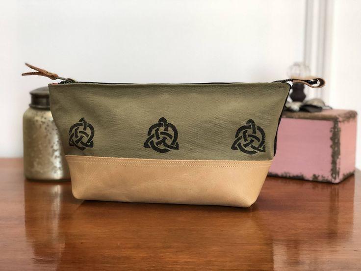 Canvas Bag/ Tweed Bag/Pouch/Make up bag/Art bag/Pencil case - Trinity knot bag, Scottish tweed bag, Leather accents, Block stamp, Celtic bag