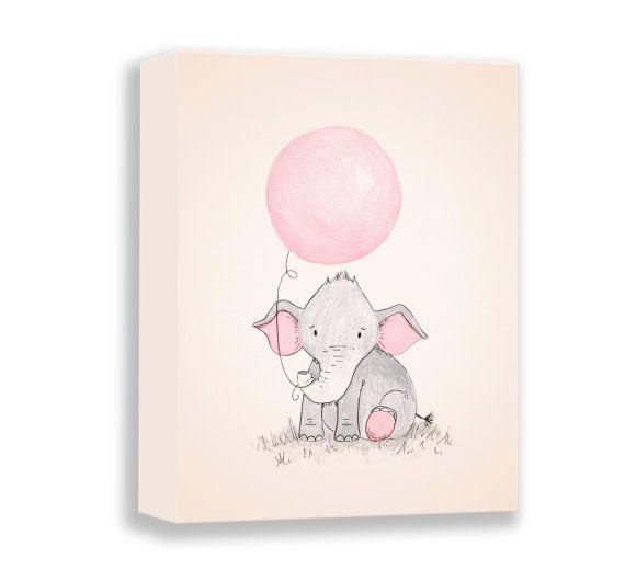elephant illustration canvas baby girl nursery art print watercolor print girl nursery decor art for children e459