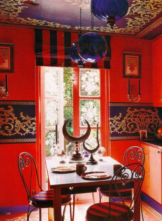 Bold Bohemian Kitchen Gorgeous Hanpainted Stencil Detail On The Ceiling And Walls
