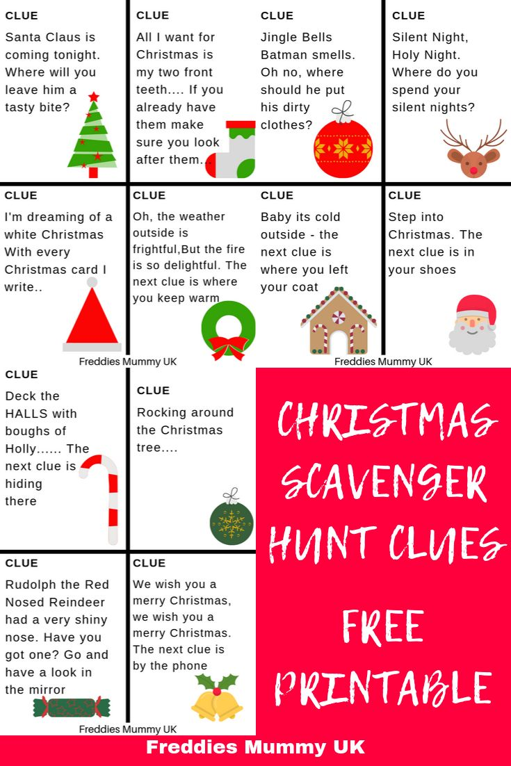 Christmas Treasure Hunt Clues Inspired by Christmas