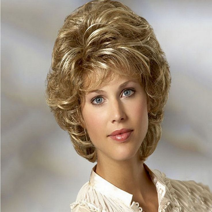 Cheap Heat Resistant Synthetic African American Blonde Wig For Middle Age Women Natural Short Curly Wigs