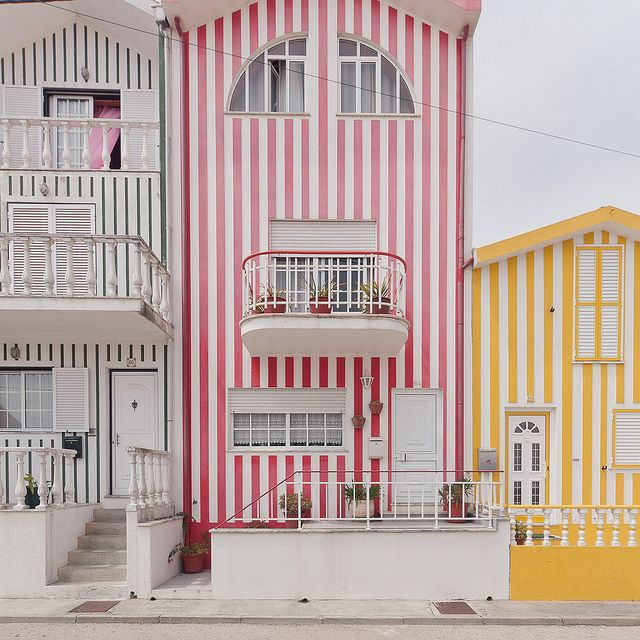 Colorful striped homes in Costa Nova, Aveiro. How fun!: Stripes House, Costa Nova, Beaches House, Color, Costanova, Candy Canes, Travel, Places, Portugal
