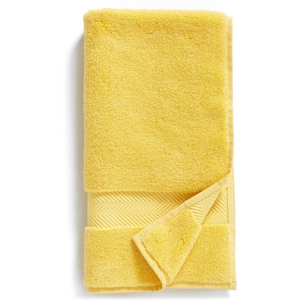 Nordstrom At Home Hydrocotton Hand Towel ($15) ❤ liked on Polyvore featuring home, bed & bath, bath, bath towels, yellow silk, plush bath towels, yellow hand towels, yellow washcloths and yellow bath towels