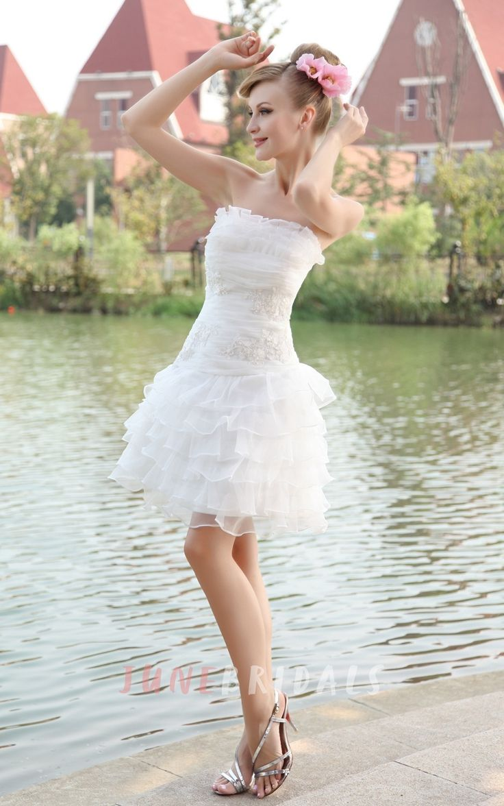 Romantic Strapless Organza Gown With Layered Ruffles