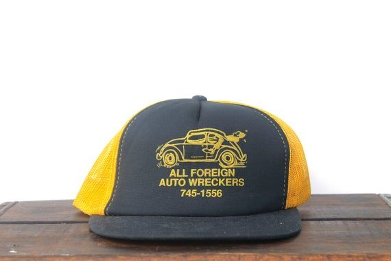 Vintage Trucker Hat Snapback Baseball Cap All Foreign Auto Wreckers Car Parts Salvage Junk Yard Volkswagen Bug Vintage Trucker Hats Hats Snapback