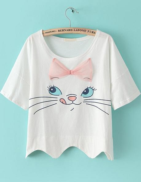 ❤ White Cat Print Bow Loose T-Shirt