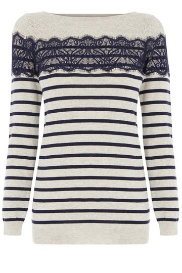 Oasis Pointelle classic bretton top is super sweet for the new season. We adore the lace texture that contrasts against the jersey stripes, and think that it add a real feminine charm to the otherwise androgynous fit of the scoop neck and long sleeve top.