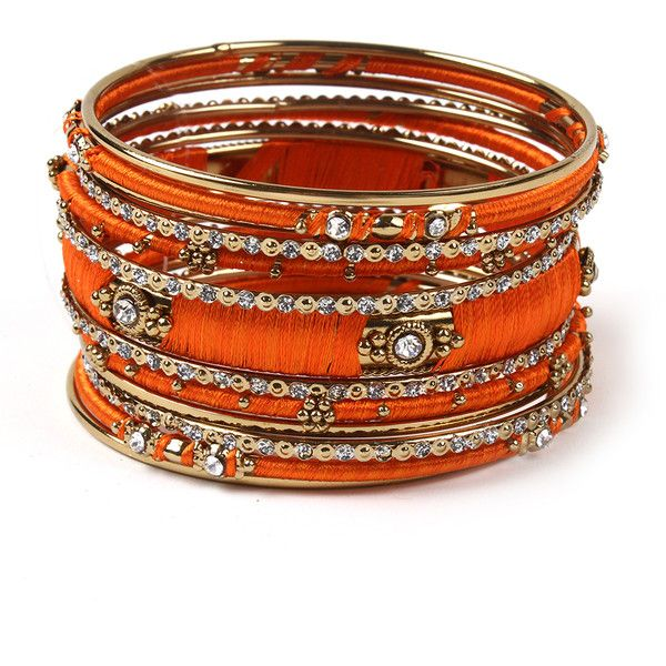 Ankara Bangle Set ($75) ❤ liked on Polyvore featuring jewelry, bracelets, amrita singh jewelry, amrita singh, amrita singh bangles and amrita singh jewellery