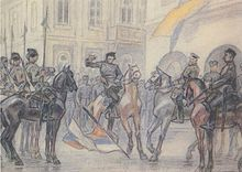Ukrainian War of Independence - A drawing by Leonid Perfetsky showing a dispute between the soldiers of the Ukrainian Galician Army and the White Russian Volunteer Army in the streets of Kiev during their joint operation against the Bolsheviks, under the command of General Denikin, in August 1919