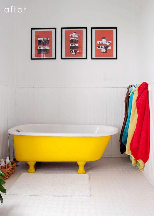 yellow clawfoot, honeycomb floor tile