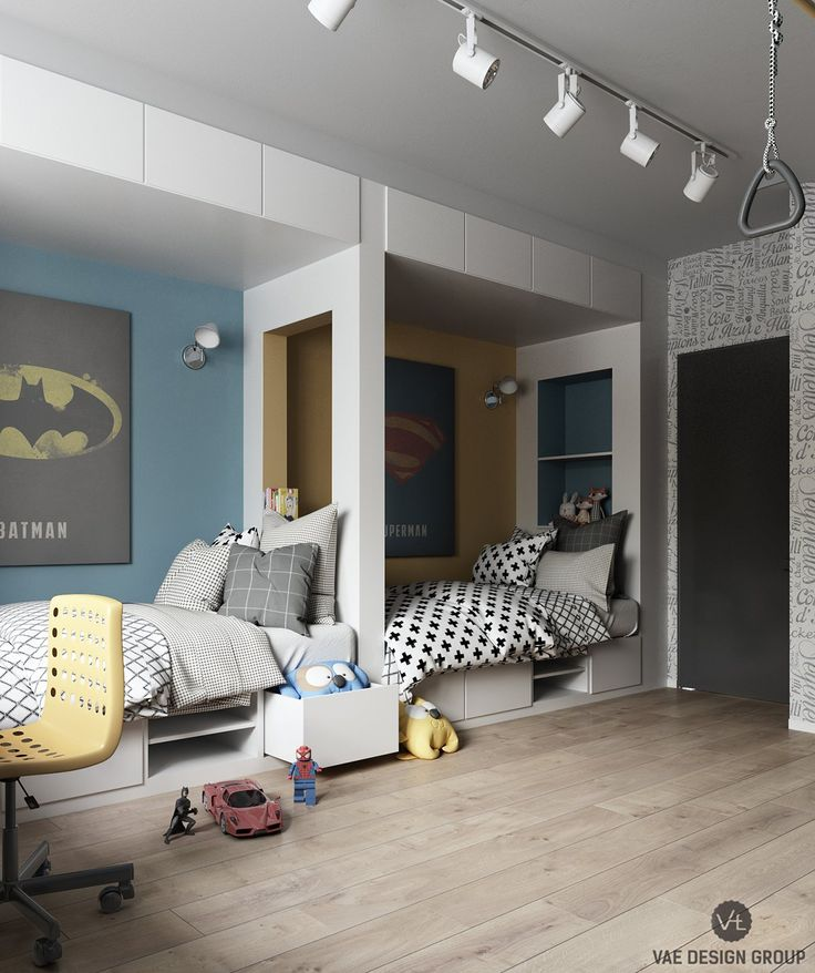 imaginative kids room design ideas with cartoon wallpaper