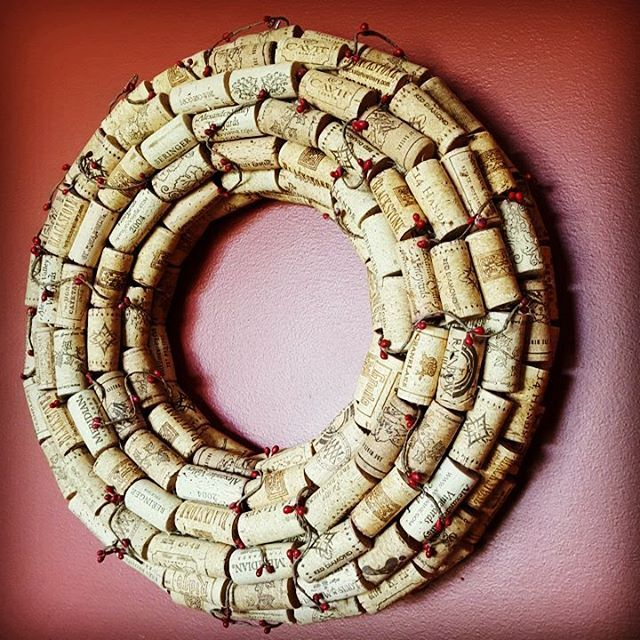 Another view of my  Wine Cork Wreath for sale in my Etsy shop! #sheloveswine🍷😊 #craftywithcorks #thatsalotofcorks #ilovewine🍷  https://www.etsy.com/listing/518718465/wine-cork-wreath?ref=shop_home_feat_3