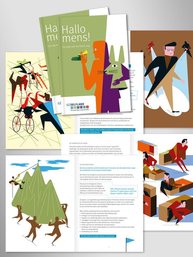 Graphic design of a long-term report for GGZ Delfland in Delft, The Netherlands Illustrations by Cyprian Koscielniak  graphic design typography art grafisch ontwerp typografie logo