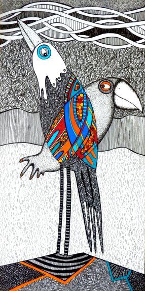 """Zaloty"" rysunek, 20x40cm, tusz, cienkopis, sygnowany pseudonimem Touanda"