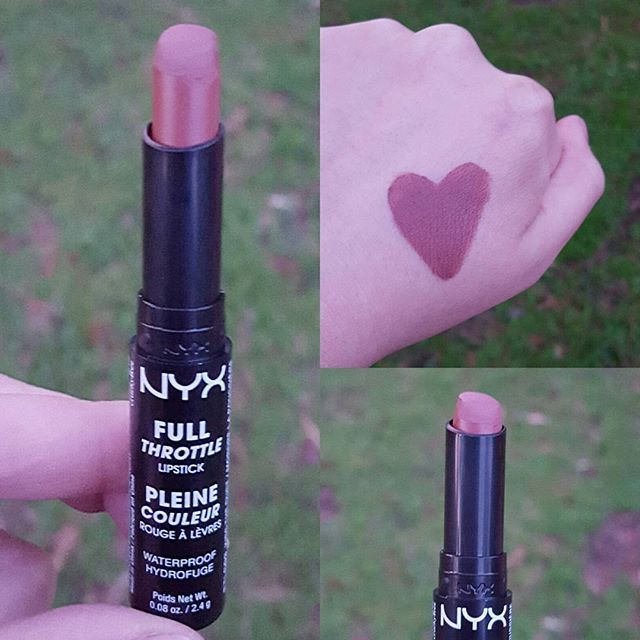 NYX Full Throttle lipstick in 03 Kiss the Dust. It's a waterproof formula that is supppperrr long lasting. Goes on almost wet feeling but dries down to a conformable matte that has a slight tackiness. The way the tip is shaped helps you to get a precise application. I'm digging this formula though. I think this will be their most popular shade in this range of lipsticks. If you want a color like KVD Lolita but can't stand the dryness, check this one out. Good job NYX! #instaswatch #swatch…
