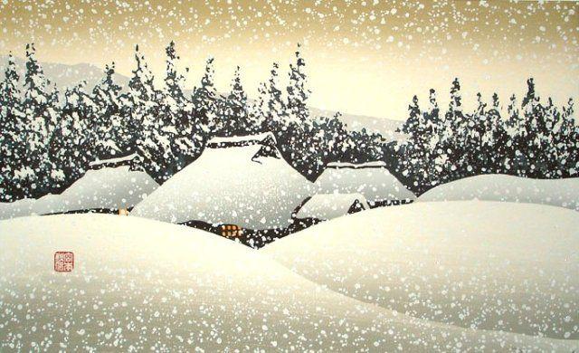 Шуфу Миямото. Снежный день в деревне. 20 в.