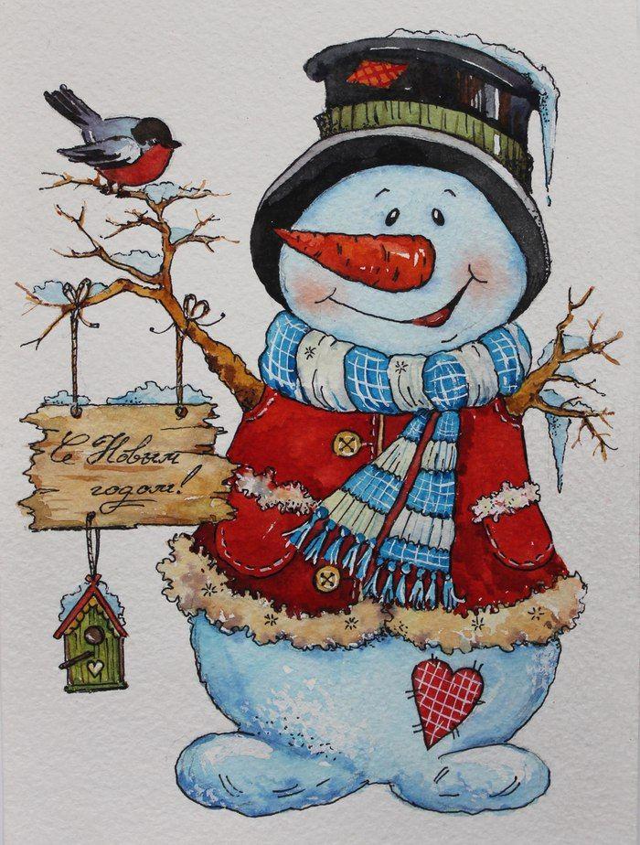 Открытки с снеговиком на новый год, поздравления днем рождения