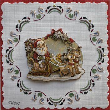 Kerstkaart geborduurd en hobbydots gebruikt