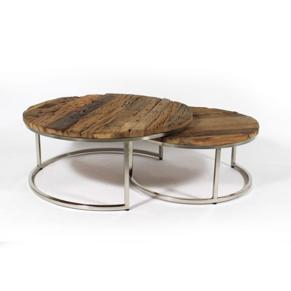 Table Basse Gigogne Ronde Bois Recyclé Style Brut Pieds