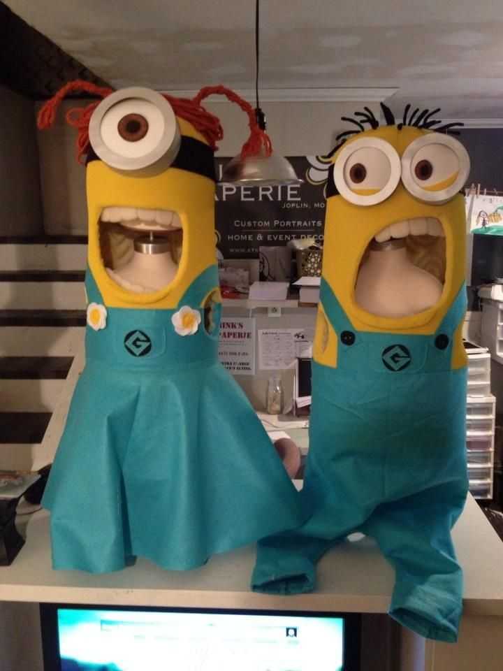 These are too awesome not to share~ Nina made these Minion costumes for her kids using foam mattress, spray paint, and lots of glue sticks! Here is the link to her FB page https://www.facebook.com/pages/Minks-Paperie/126595007428128?hc_location=timeline