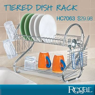 """TIERED DISH RACK Bi-level design allows plenty of air to circulate. Heavy-duty, rust-resistant steel rack can hold a cabinet's worth of dinnerware and more. Includes top row for plates, bottom row for bowls, dishes and cups and side-mounted holders for drinking glasses, mugs, and utensils. Plastic draining trays easily remove for fast cleanup. Chrome finish. 21-1/2""""L x 10""""W x 15""""H"""