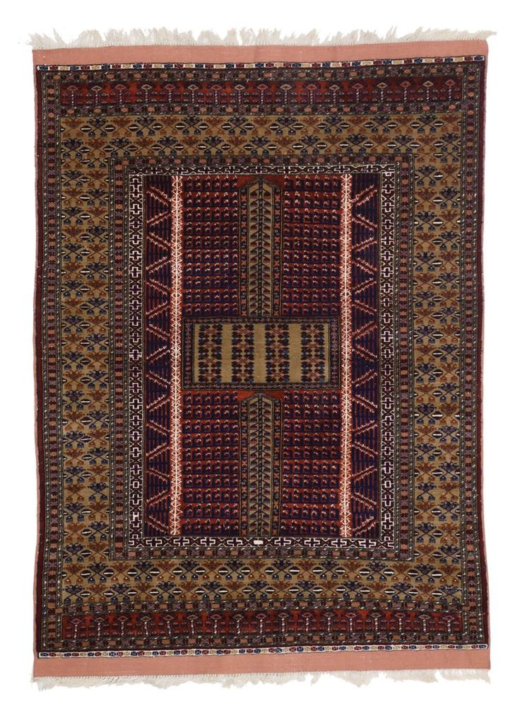 Mid Century Modern Style Vintage Afghani Rug With Tribal Design