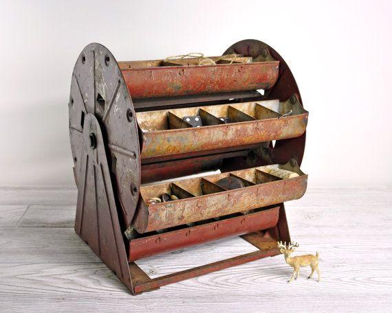Vintage Metal Carousel Parts Bin / Metal Organizer by havenvintage. Too bad it already sold :(