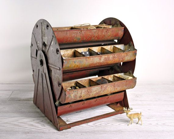 Vintage Metal Carousel Parts Bin / Metal Organizer by havenvintage. Too bad it already sold :(