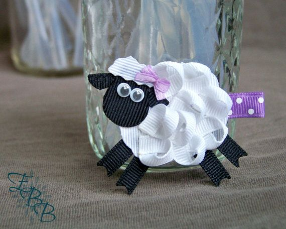 Hey, I found this really awesome Etsy listing at https://www.etsy.com/listing/187251768/woolly-sheep-ribbon-sculpture-hair-clip