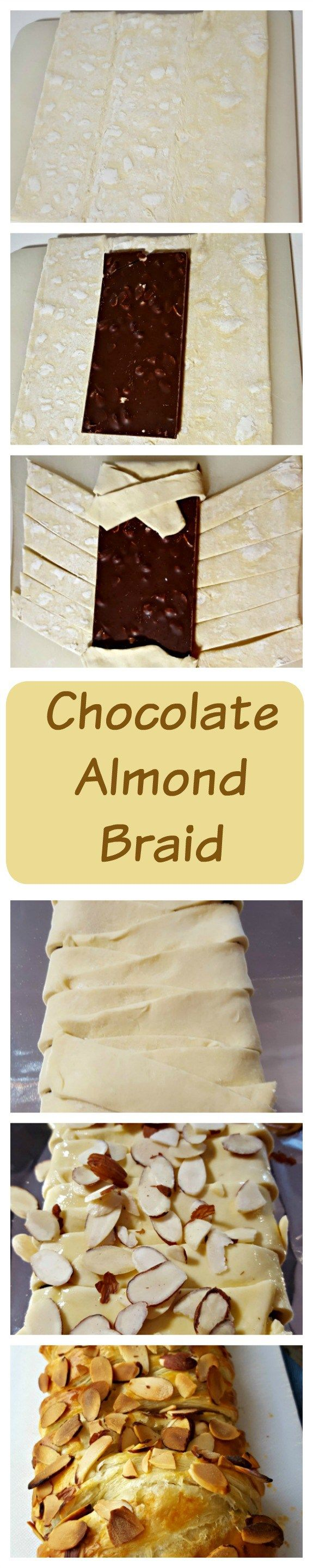 Chocolate Almond Braid If you are looking for a chocolate comfort snack – look no farther. This chocolate almond braid is so easy and so delicious that you will be asked to make it all the time. I have friends call me and ask me to bring them one when they are having a bad day!   Oh and heads up, the box of puff pastry sheets includes two sheets so you might as well buy two candy bars and enough nuts because the first time you make this, you will need the second braid as proof you made it.