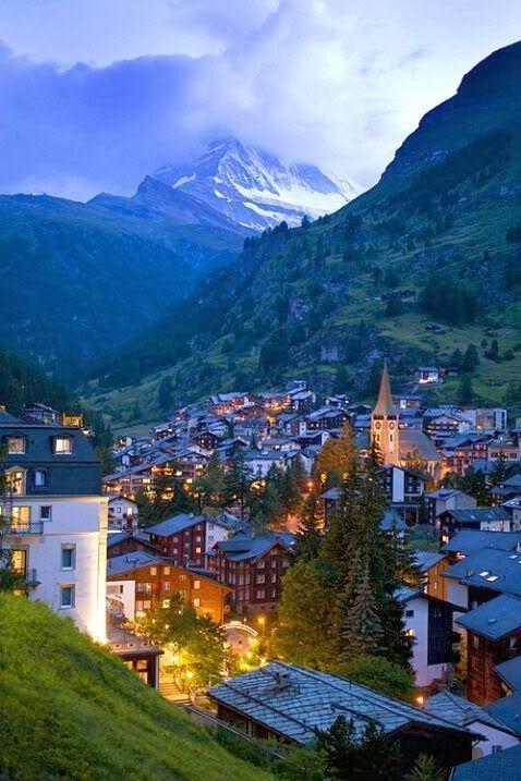 Dusk, Zermatt, Switzerland~ Zermatt is in the German-speaking section of the canton of Valais in Switzerland. Zermatt is famed as a mountaineering and ski resort of the Swiss Alps.
