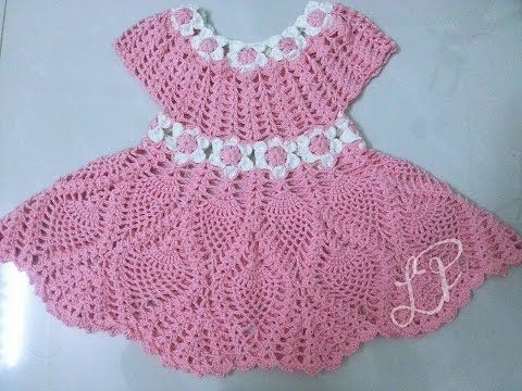 Crochet dress  How to crochet an easy shell stitch baby / girl's dress for beginners 10 - YouTube