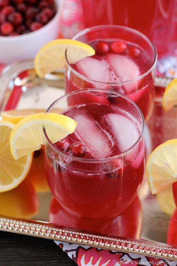 Sparkling Cranberry Punch - the perfect beverage for a non-alcoholic party drink or mocktail with only 3 ingredients!