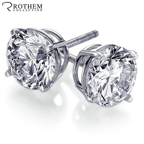 Real 1/2 ct H I1 Round Solitaire Diamond Stud Earrings Solid 14k White Gold for…