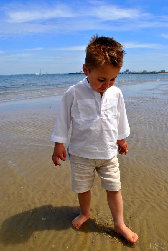 boys tunic shirt  boys white tunic shirt  by littlestarclothing, $39.95