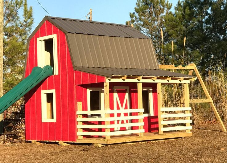 23 best shed playhouse images on pinterest backyard for Barn and silo playhouse