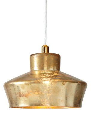 Ellos: Taklampa i glas med guldfärgad yta (fattigmansguld) som ger ett varmt sken. Transparent sladd. Halogenlampa G9.  Ø 18  cm. Höjd 11 cm.