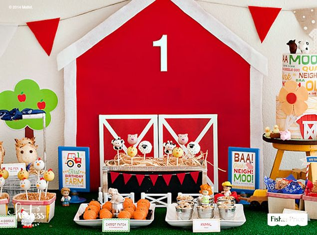 DIY instructions for creating a colorful barn backdrop for your dessert table. Personalize with a #1 and string garland from either side for instant barnyard birthday bash fun.