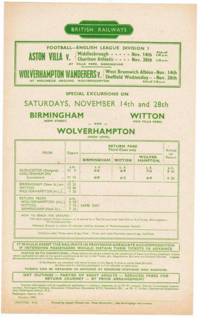1953 Wolves V West Brom & Sheffield Wednesday British Rail Football Special Handbill